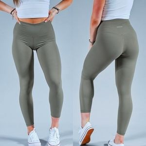 Paragon Fitwear High Waisted Forest Olive Green 7/8 Essential Leggings Small